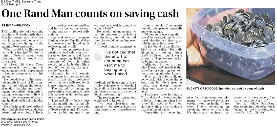 Sunday Times Business Times_130714_One rand man counts on saving cash