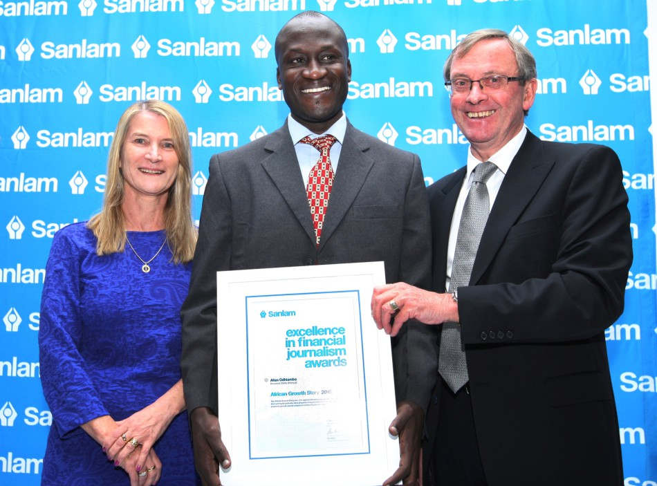 Margaret Dawes (Sanlam Emerging Markets), Allan Odhiambo (Business Daily) and Desmond Smith (Sanlam Chairman)_LR