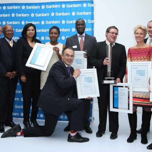 The 2015 Sanlam Awards for Excellence in Financial Journalism winners with Sanlam representatives